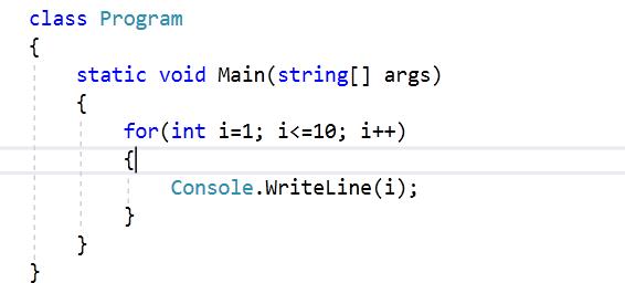 pętla for w języku C#